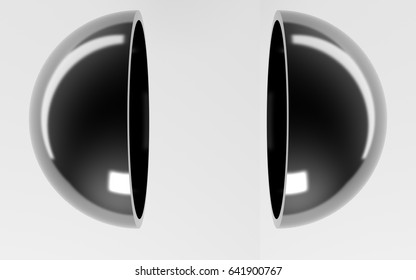 3d rendering of a hemisphere cut inside a studio on white