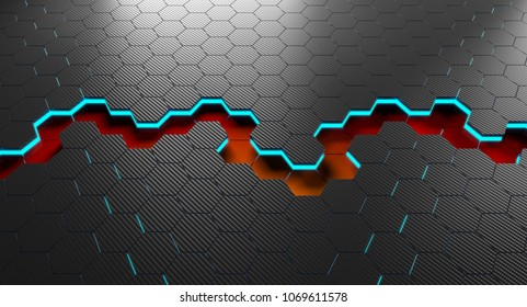 3d rendering of hexagon carbon fiber background