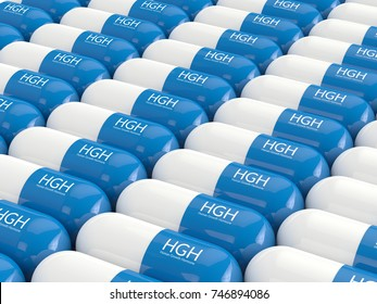 3d rendering of  HGH pills in row