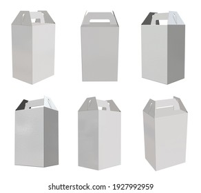 3D rendering - High resolution image white custom carrier box template isolated on white background, high quality details of cardboard