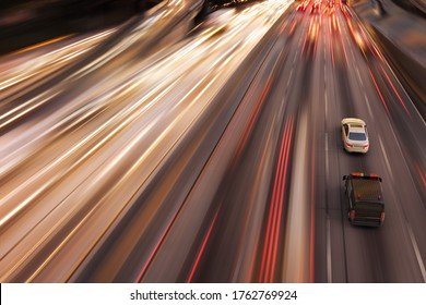 3D rendering of a high speed police chase in a highway.