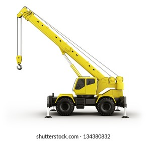 3d rendering of a highly realistic crane seen from the side.