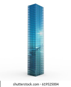 3d rendering highrise building isolated on white
