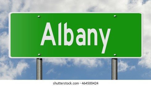 A 3d rendering of a highway sign for Albany