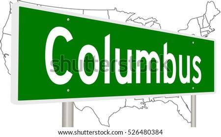 3 D Rendering Highway Sign Columbus Ohio Stock Illustration ...
