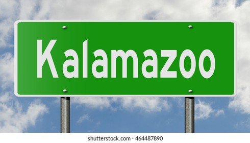 A 3d rendering of a highway sign for Kalamazoo