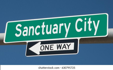 A 3d rendering of of a highway sign for Sanctuary City, one way