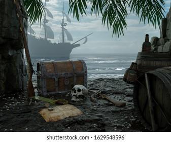3d rendering historical background pirate island sea cave gun pistol skull map barrel ship treasure beach