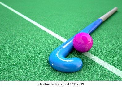 A 3D rendering of a hockey stick and ball on green astroturf in the daytime