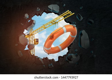 3d rendering of hoisting crane carrying orange lifebuoy and breaking hole in black wall with blue sky seen through. Construction boost. Accident prevention. Construction safety.