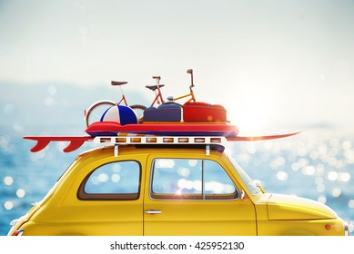 3D rendering of holiday on the road
