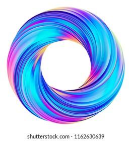 3D rendering of holographic abstract circle twisted shape. Design element 3D brush stroke. Isolated on white background.