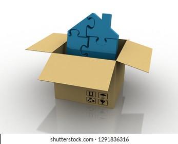 3D rendering home in cardbox