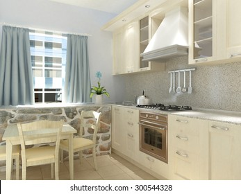 3d rendering of a home kitchen interior design