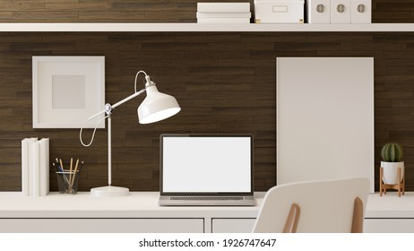 3D rendering, home office room, the table with laptop, mock up frame, supplies, stationery and decorations, clipping path, 3d illustration