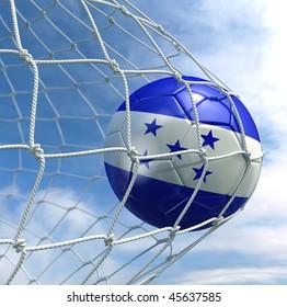 3d rendering of a Honduran soccer ball in a net