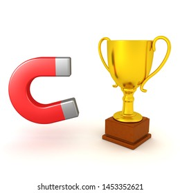 3D Rendering of horseshoe magnet next to gold trophy. 3D Rendering isolated on white.