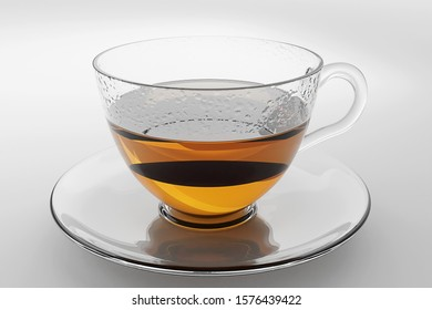 3D rendering - Hot tea in a glass cup