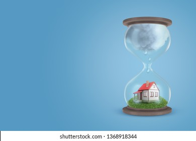 3d rendering of hourglass with little detached house on green lawn in lower half of hourglass, with big grey raining cloud in its upper half. Mortgage issues. Expiration of lease. Construction delay.