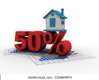 3D rendering House and 50 Percent Symbol