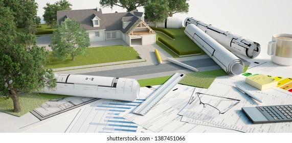 3D-Darstellung eines Hausarchitektur- und Landschaftsmodells mit Entwürfen, Energieeffizienz-Diagrammen und anderen Dokumenten