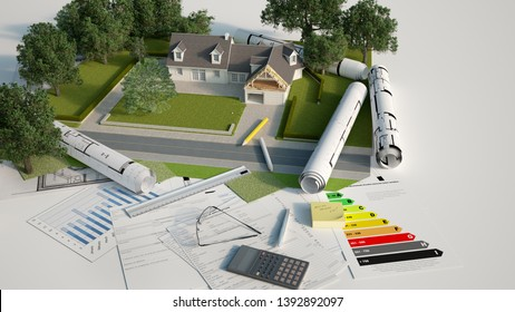 3D rendering of a house architectural and landscape model with blueprints, energy efficiency charts and other documents