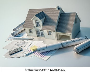 3D rendering of a house with blueprints,  charts, mortgage application form, budget and calculator