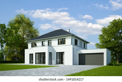 3d rendering of a house in classic style