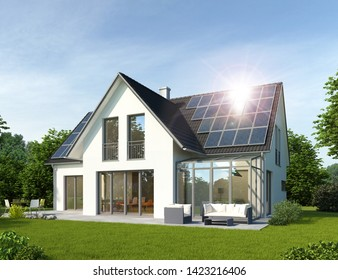 3D rendering of a house with conservatory and solar panels