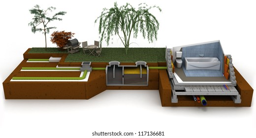 3D rendering of a house cross section showing bathroom and sewage system