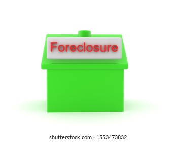 3D Rendering of house foreclosure icon. 3D Rendering isolated on white.