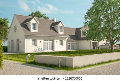 3D rendering of a house with garden and a car in the garage