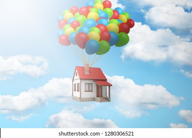 3d rendering of a house lifted up in the air by a large bundle of balloons against blue sky with white clouds. New housing development. Solve problem of housing. House-warming party.