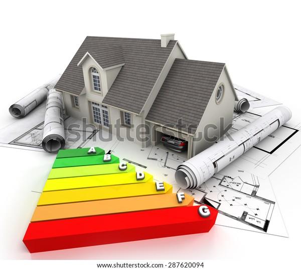 Representación 3D de una casa en la parte superior de los planos, con una tabla de calificación de eficiencia energética