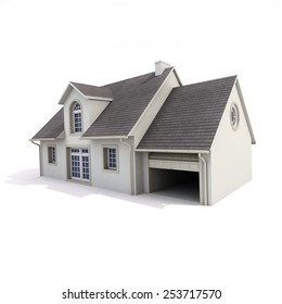 3D Rendering Of A House On White Background