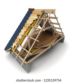 3D rendering of a house roof  wooden framework