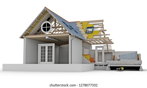 3D rendering of a house showing technical construction and engineering details