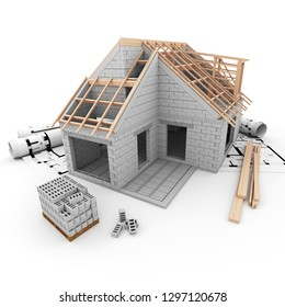 3D rendering of A house under construction, with construction blocks, beams and blueprints