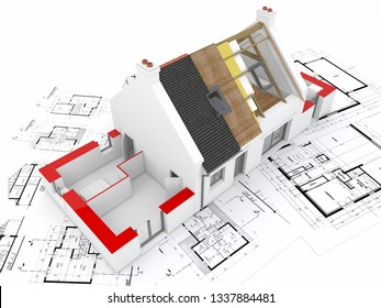 3D rendering of a house under construction on top of blueprints