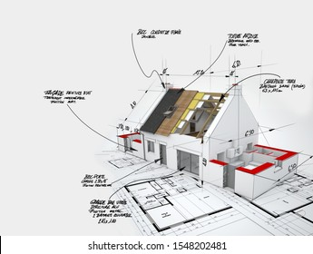 3D rendering of a House under construction on top of blueprints with handwritten notes and measures