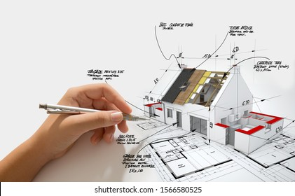 3D-Darstellung eines Hauses, das sich im Bau befindet, auf Bauplänen mit handgeschriebenen Notizen und Maßnahmen