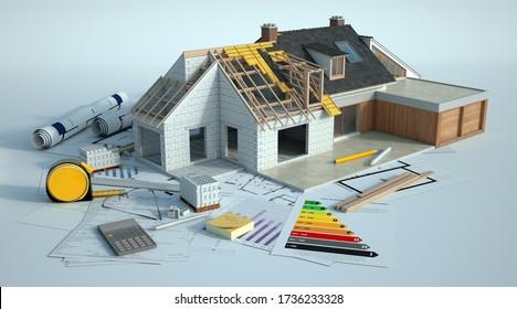 3D-Darstellung eines Hauses, das einer Verstärkung unterzogen wird, gibt es Dummy-Text in der Grafik und die französischen Wörter in den Plänen sind Zimmer, Bad, umgewandelte Dachterrasse und Terrasse