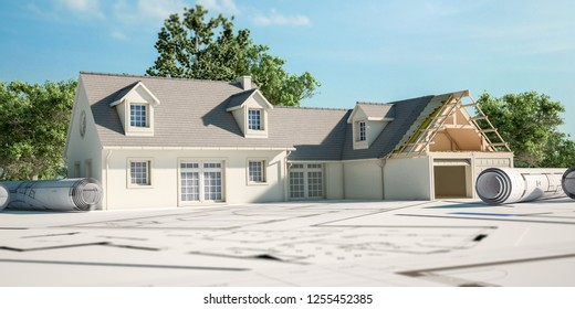 3D rendering of a house undergoing  renovation  on top of blueprints with garden