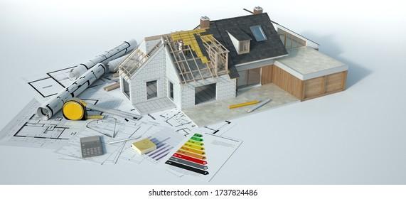 Die 3D-Darstellung eines renovierten Hauses ist in der Grafik ein Dummy-Text und in der Blaupause ein französischer Text: Waschküche, nicht ausziehbarer Dachbereich, Zimmer, WC, Saal, Esszimmer, Ankleide