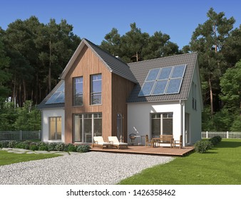 3D rendering of a house with a wooden bow and solar panels