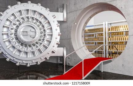 3d rendering of huge bank vault with gold ingot