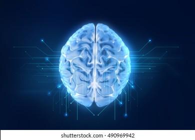 Le rendu 3d du cerveau humain sur fond technologique représente l'intelligence artificielle et le concept d'espace cybernétique