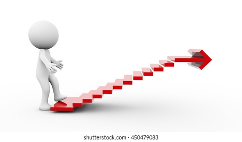 3D Rendering Human Character climbing stairs with arrow