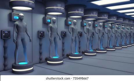 3d rendering. Human Clone Manufacturing and Futuristic Room