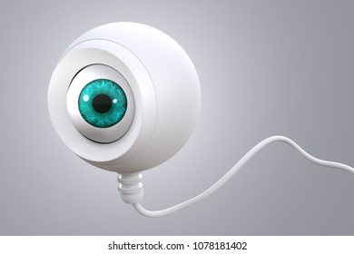 3d rendering of an human eye on a security camera on grey background